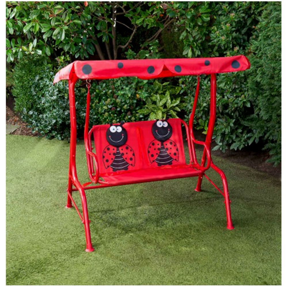 Medium image of childrens swinging 2 seater hammock with sun canopy  a fun swinging hammock for kids with a ladybird design  safety straps for securing children whilst