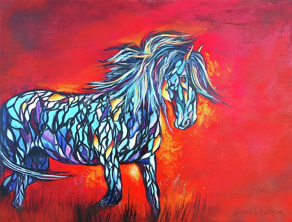 Stained Glass Stallion painting by Karen Chatham #horse art