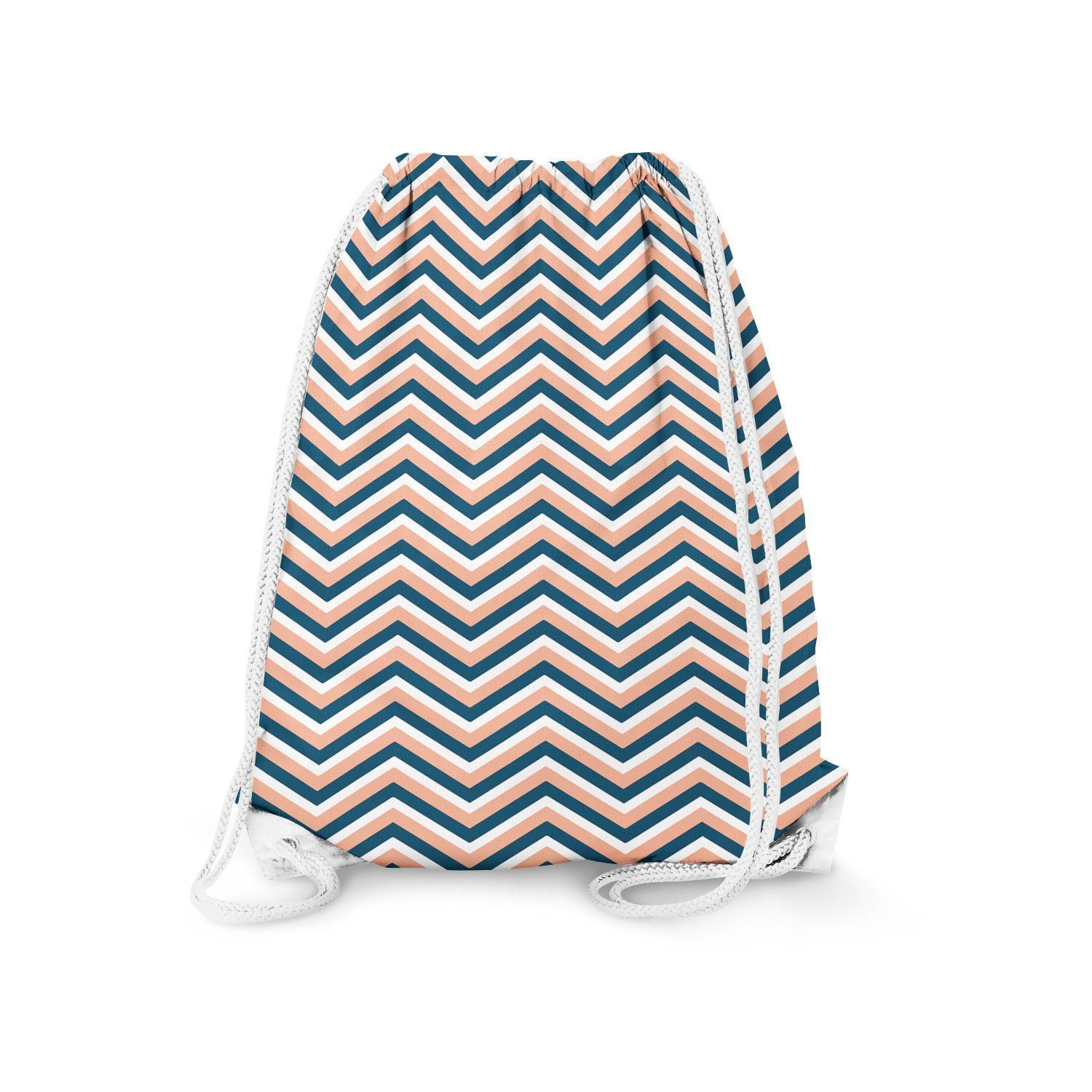 Coral Navy Chevron Drawstring Bag  Heavy Cotton Canvas