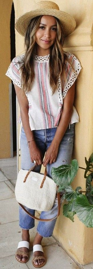 #summer #stylish #outfitideas | Boho Top + Jeans