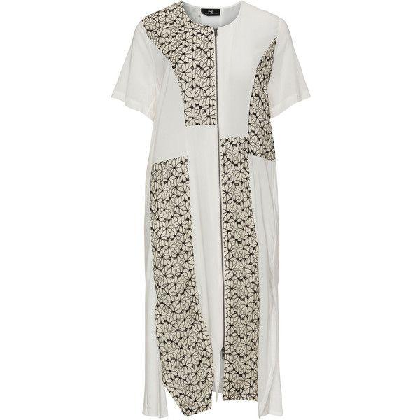 NÖR Cream / Black Plus Size Patchwork midi dress ($145) ❤ liked on ...