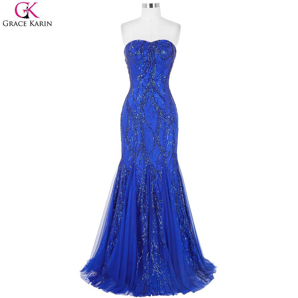 Royal blue prom dresses grace karin strapless mesh luxury elegant