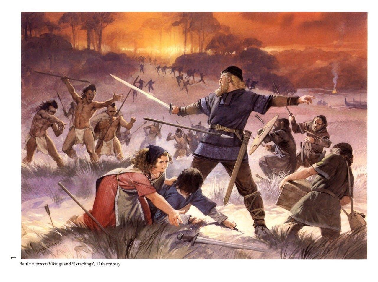 Battle Between Vikings And Skraelings 11th Century