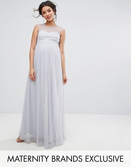 38daea049d7 Little Mistress Maternity Maxi Dress With Pearl Embellished Bodice ...