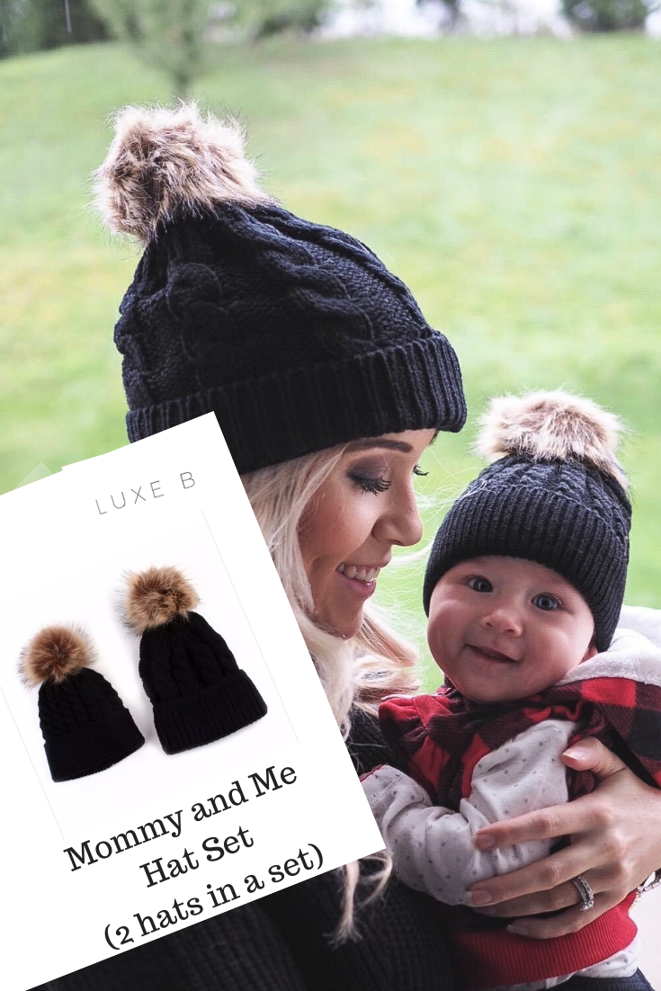 6f4f5ef11c7 Luxe B Baby Mommy and Me Cable knit Hats Black with Natural Pom Pom ...