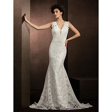 Trumpet/Mermaid V-neck Court Train Chiffon And Lace Wedding Dress (2487434) – USD $ 349.99