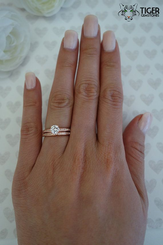 1 2 Carat Solitaire 3 4 Ctw Wedding Set Half Eternity Rings Man Made Diamond Simulants Engagemen Half Carat Engagement Rings Wedding Sets Man Made Diamonds