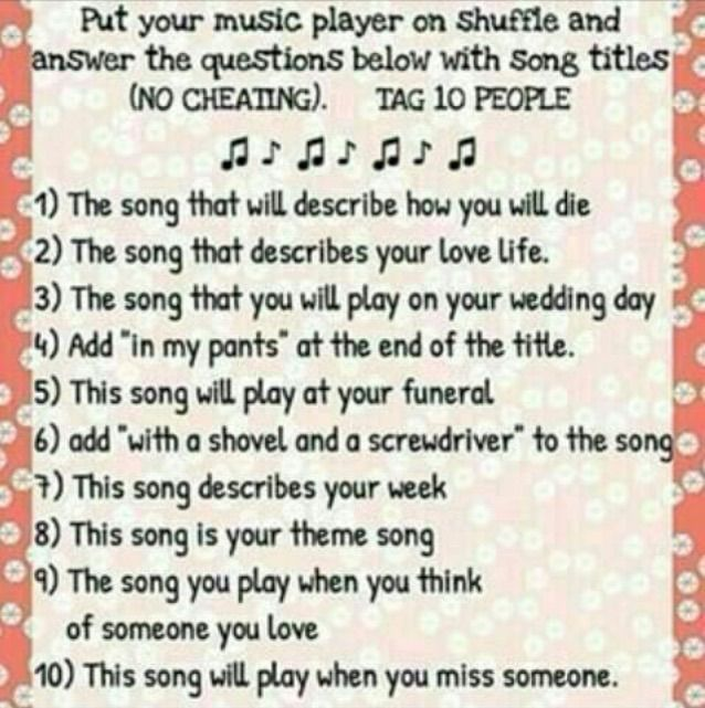 """1. The end.- my chemical romance  2. Better off dead - sleeping with sirens 3. Kiss me kiss me - 5sos 4. The only difference between martyrdom and suicide is press coverage""""in my pants"""" - panic! At the disco 5. Party poison - my chemical romance 6. Golden days - panic! At the disco 7. I never told you what I do for a living - my chemical romance  8. A little less sixteen candles a little more touch me -fall out boy 9. She had the world - panic! At the disco 10. Photograph - Ed sheeran"""