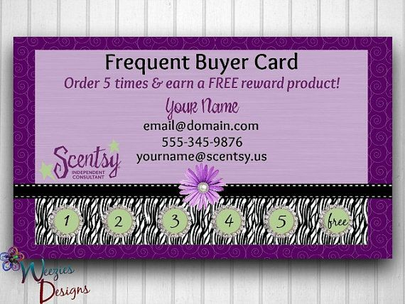 Scentsy Frequent Buyer Card By Weeziesdesigns 8 00 Scentsy Scentsy Marketing Scentsy Business