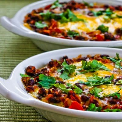 Recipe for Mexican Baked Eggs with Black Beans, Tomatoes, Green Chiles, and Cilantro from Kalyn's Kitchen #food #breakfast