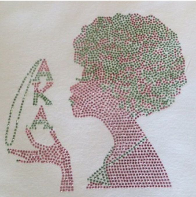 AKA Pink and Green Afro Rhinestone Shirt by DiamondPieces on Etsy https://www.etsy.com/listing/171212106/aka-pink-and-green-afro-rhinestone-shirt