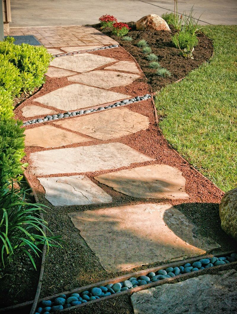 Amazing Flagstones Over Crushed Granite Path With Edging With Crushed Rock Pathway  Ideas