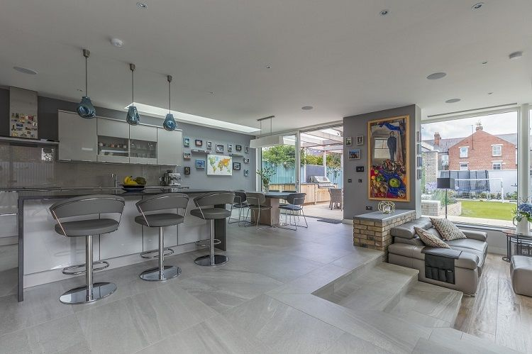 Open Plan Kitchen Area Stepping Down Into A Very Contemporary Style Sunken Lounge The Tiles Wood Floors Are Living Room Upstairs Home Herringbone Wood Floor