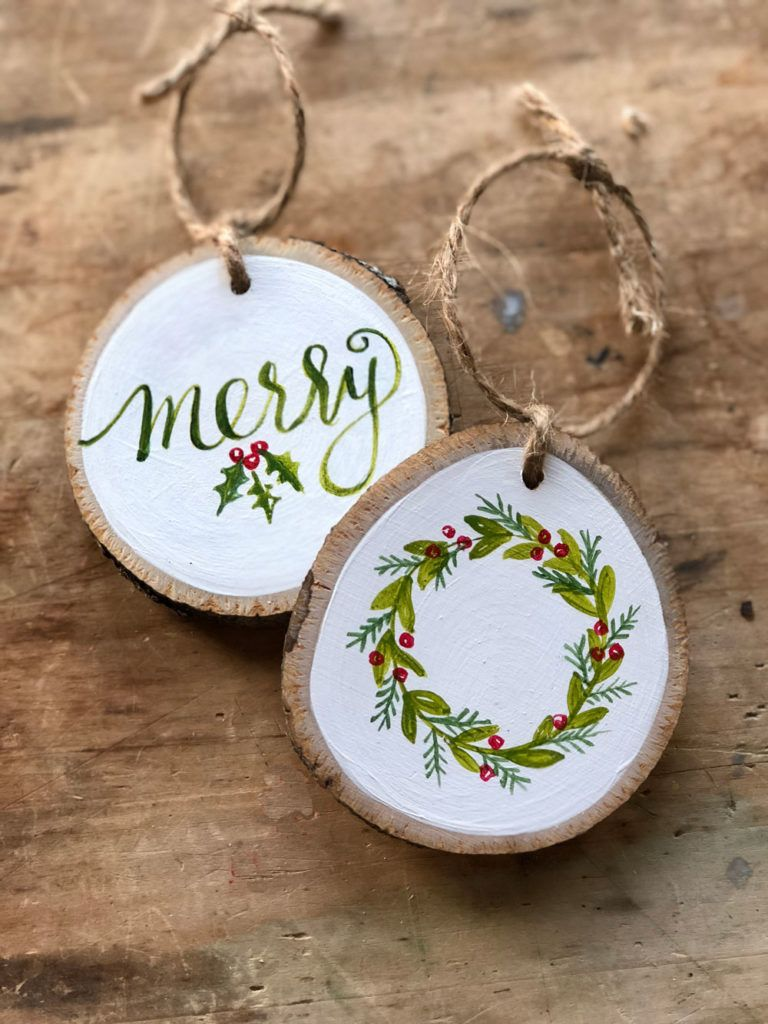 Learn How To Paint Your Own Hand Painted Christmas Wreath Ornament Wood Christmas Ornaments Painted Christmas Ornaments Christmas Wood
