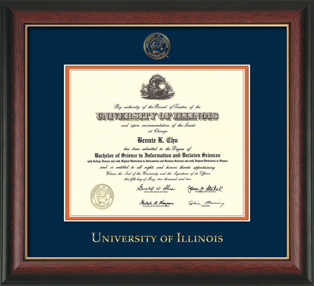 University of Illinois Diploma Frame - Rosewood w/Gold Lip - w ...