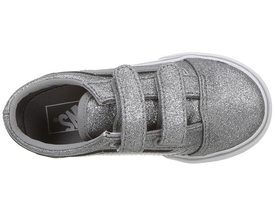b9ddce5949a32c Vans Kids Old Skool V (Toddler) Girls Shoes (Glitter + Metallic) Frost Gray