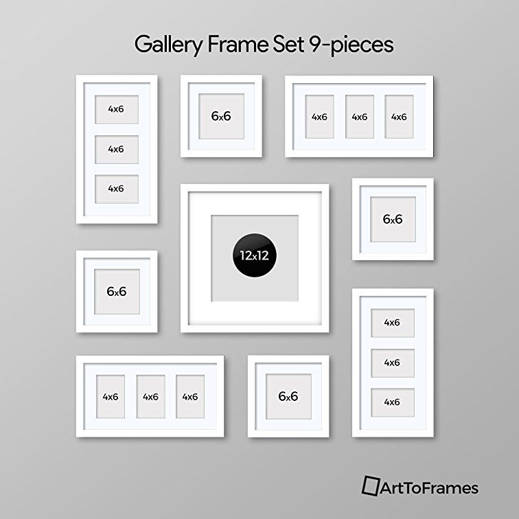 Amazon Com Arttoframes Picture Frame 7 Piece Wall Set 5 10x8 2 10x10 Inch Gray Frames Wh Gallery Wall Layout Photo Wall Decor Picture Wall Living Room