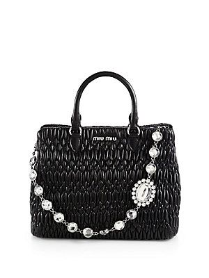0ca6e91e0080 Miu Miu Jeweled-Strap Pucker Leather Tote A scaled-down tote in rich  puckered and pleated leather has a crystal link shoulder strap as a sparkling  accent.