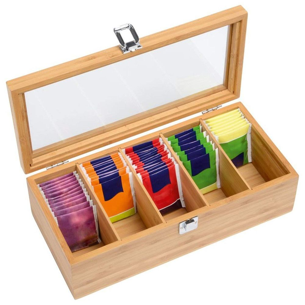 Desktop Jewelry Organizer with Clear Lid Tea Bag Organizer Storage Box 2 Compartment