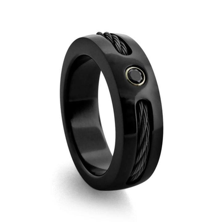 black titanium mens ring with diamond cable available at alpha rings - Mens Wedding Rings Black