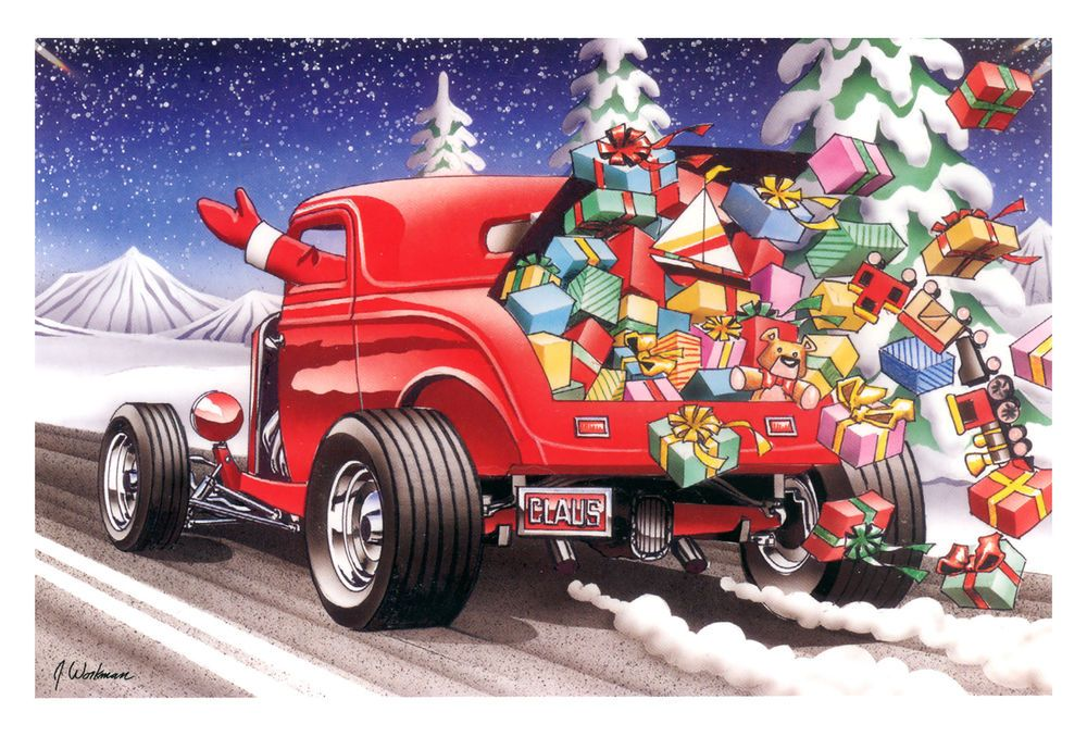 Hot Rods Christmas Cards - X-824 - One (1) Pack of 10 Cards ...