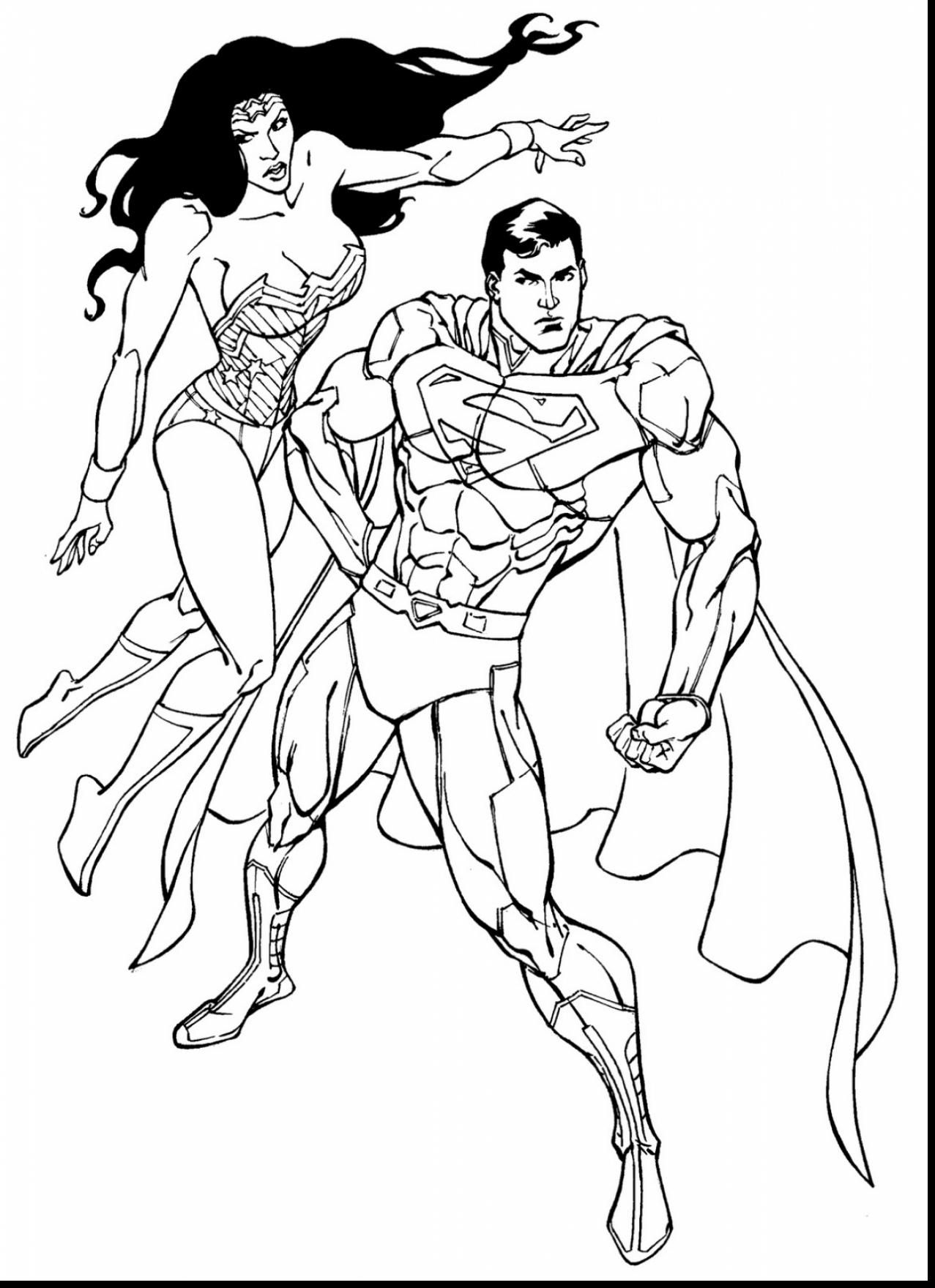 Great Superman And Wonder Woman Coloring Pages With Superman