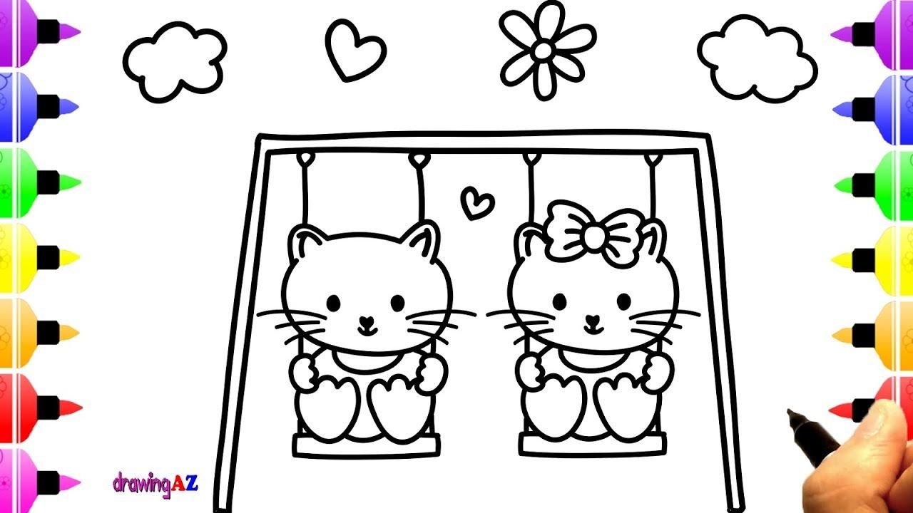 How To Draw Lovely Kittens Play On Swing Coloring Page For Kids
