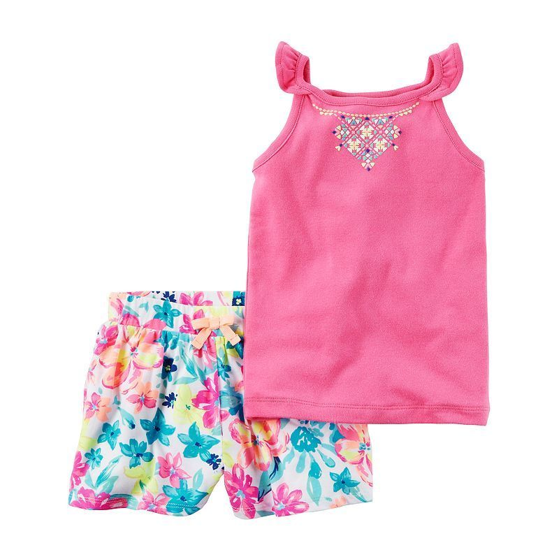 e74d5f9dc Baby Girl Carter's Necklace Graphic Tank Top & Floral Shorts Set, Pink