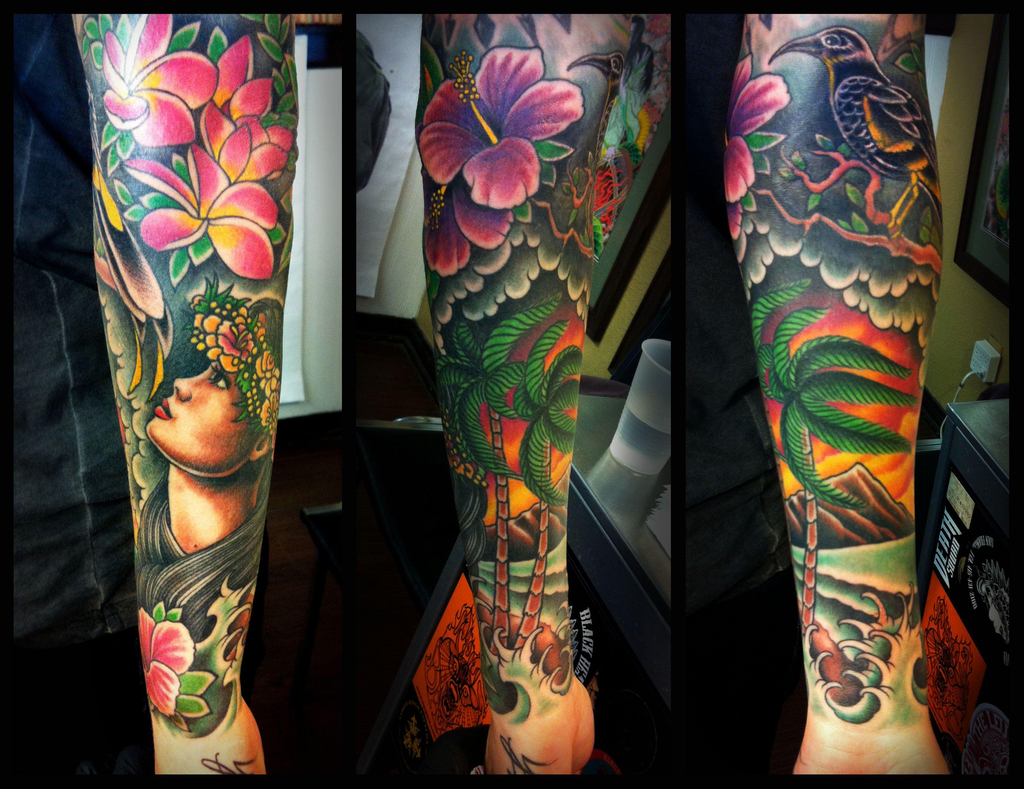 Lower leg guys traditional sleeve tattoos - Hawaiian Themed Sleeve Love The Bright Flowers
