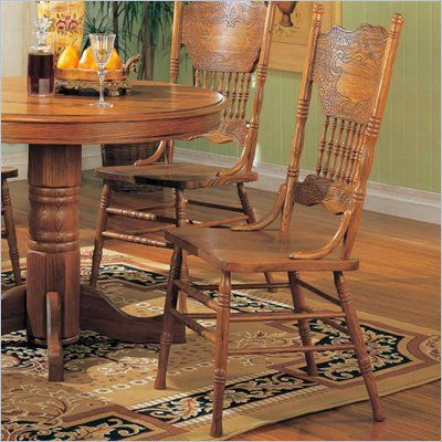 coaster mackinaw victorian press back dining side chair in medium rh pinterest com