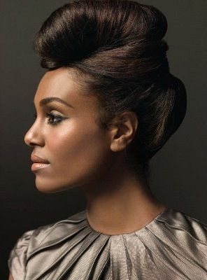 African American Wedding Hairstyles Hairdos Dramatic 50s Updo