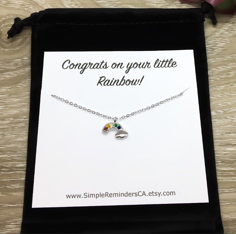 Photo of Rainbow Necklace with Card, Rainbow Baby Keepsake, Congratulations Gift for New Mom, Dainty Jewelry, Push Present Necklace, Sterling Silver