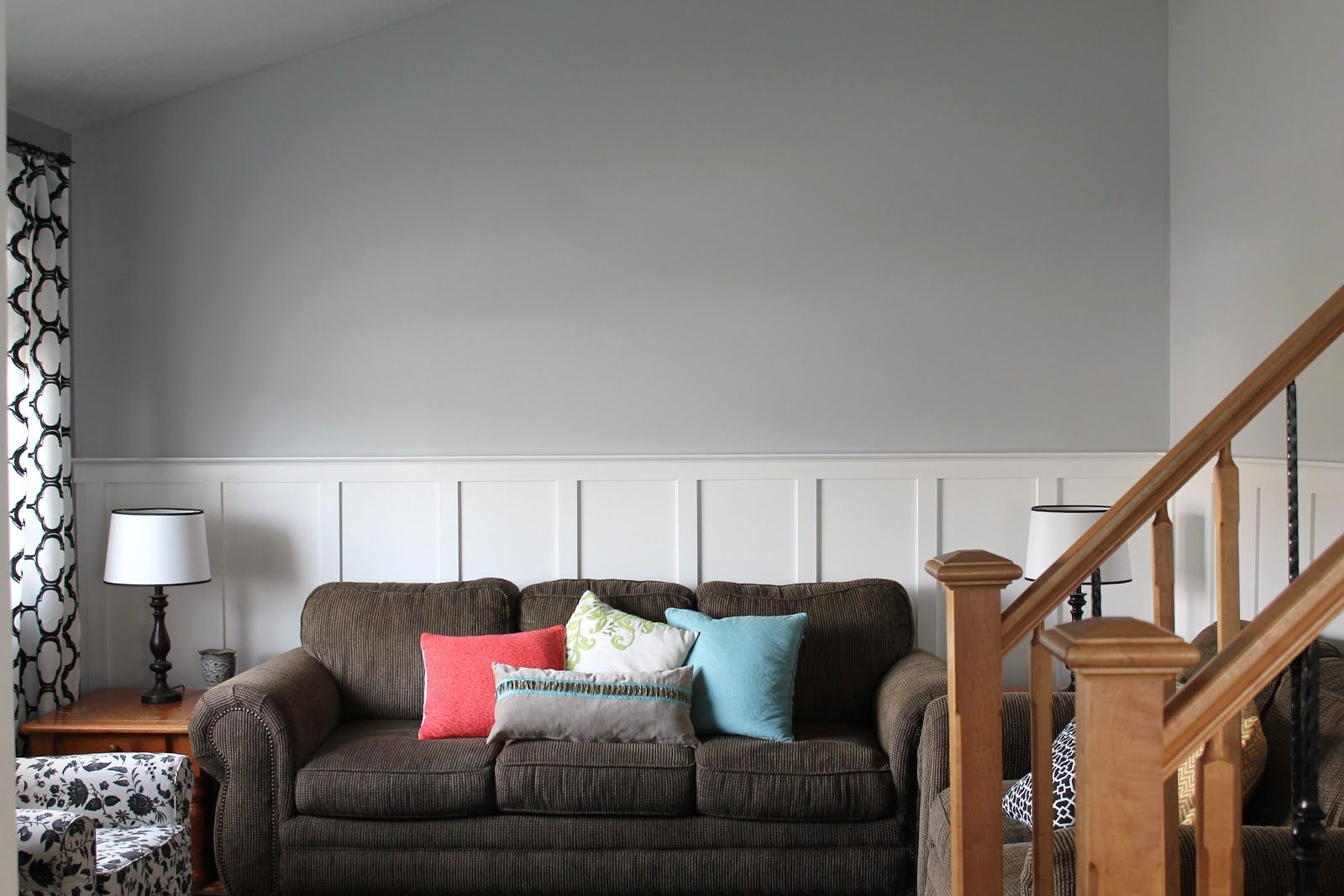 Valspar gravity a light gray paint colour with cool purple undertones living room with board and batten by magnamom