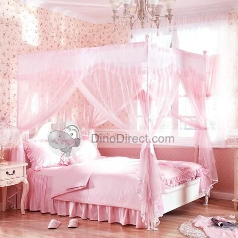 Image Detail For Wholesale Household Lace Ruffle 4 Poster Bed