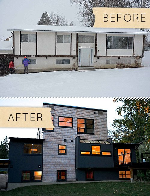 Before after a plain jane house gets a mind blowing for Modern house exterior remodel