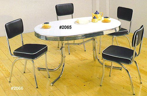 50 s retro table set chrome oval table with 4 chairs furniture