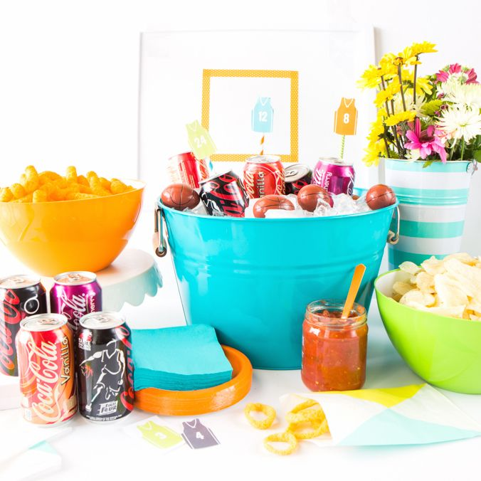 slam dunk snack table free basketball party printables tanner s