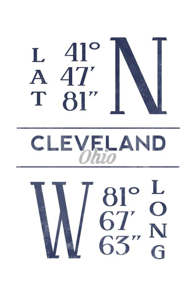 cleveland ohio latitude and longitude blue art print lantern press art com blue art prints lantern press art gallery wall cleveland ohio latitude and