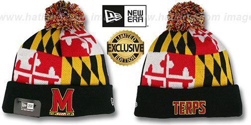 cf08feadae720 Terps  M-TERPS MARYLAND-FLAG  Knit Beanie Hat by New Era   may be pictured  without stickers that these products are shipped with