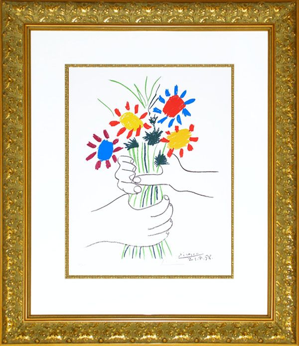 Picasso Lithograph Signed, Bouquet of Peace, 1958 (image 2)