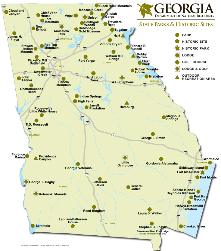 Cabins And Cottages: Georgia State Park Sites Map | Day Adventures ...