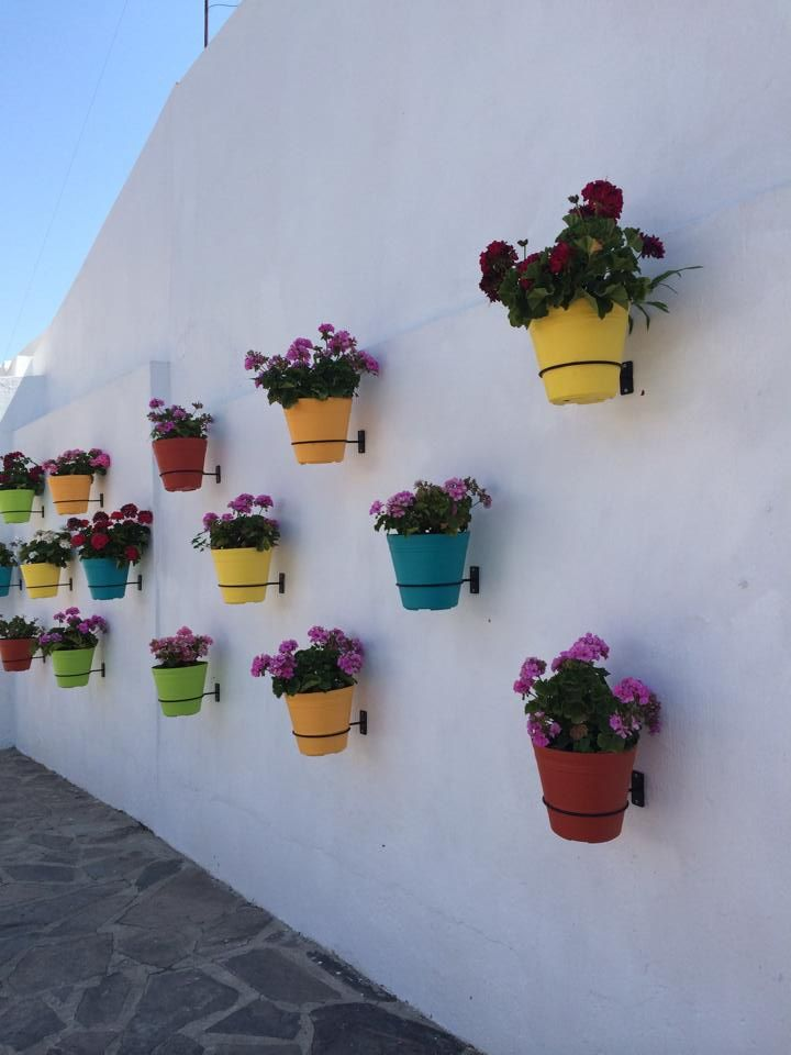 Macetas De Colores Mexican Patio Hacienda Decor Wall Style