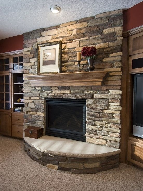 """Michael Thronson Masonry Thin Stone Veneer Projects And: Traditional Basement """"gas Fireplace"""" Design, Pictures"""