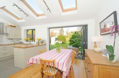 Knocked Through Kitchen Diner With Foldback Doors Like The Door And Window Frames Roof Lights But Not Track Lighting Fab Extension