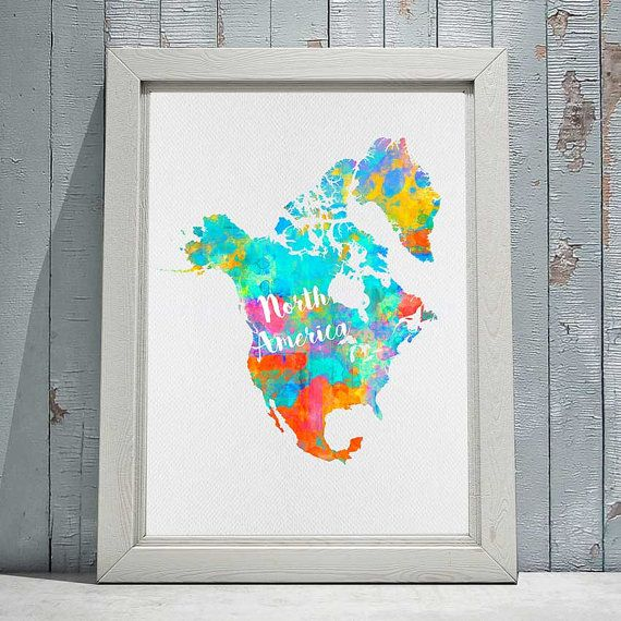 North America Map Print Printable Continent: North America Map Wall Art At Usa Maps