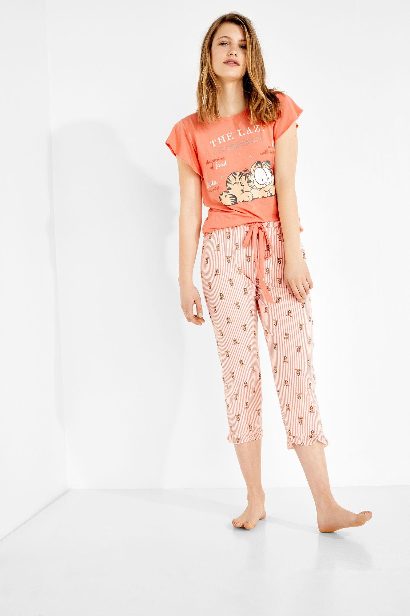 9e4a2c66d Womensecret Pijama capri  Lazy  de Garfield rosa