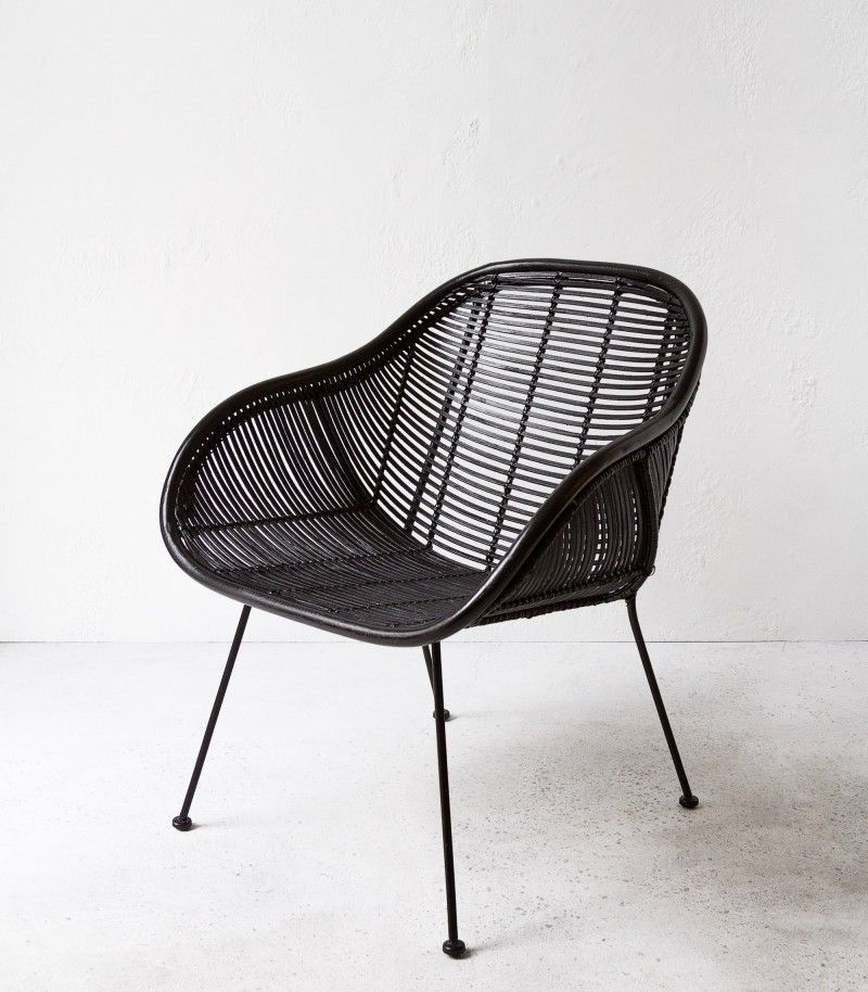 Retro Chair | Retro Arm Chair | Handmade | Rattan | Black | NZ | Indie