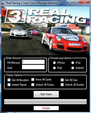 http://redappsworld.com/real-racing-3-hack/ Real Racing 3 Cheats Specs & Abilities:  - Unlimited R$ Cheat,   - Free Gold Hack  - Unlock All Cars Instantly  - Free Repairs Plus Car Upgrades  - Skip any mission you want  - Anti ban system  - Universal for Iphone, Ipad, Ipod, & Android http://redappsworld.com/real-racing-3-hack/