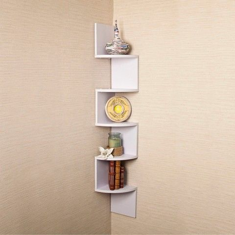 48 5 X 7 7 Corner Zig Zag Decorative Wall Shelf White Danya B Wall Mounted Corner Shelves Wall Mounted Shelves Corner Shelves