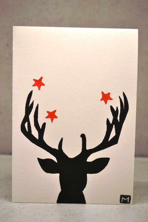 Christmas Card- Printed Reindeer Hand printed lino Christmas cards ...